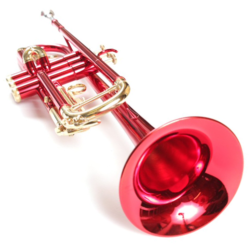Bright Red Luxury Bb Nickel Pated Trumpet and Case