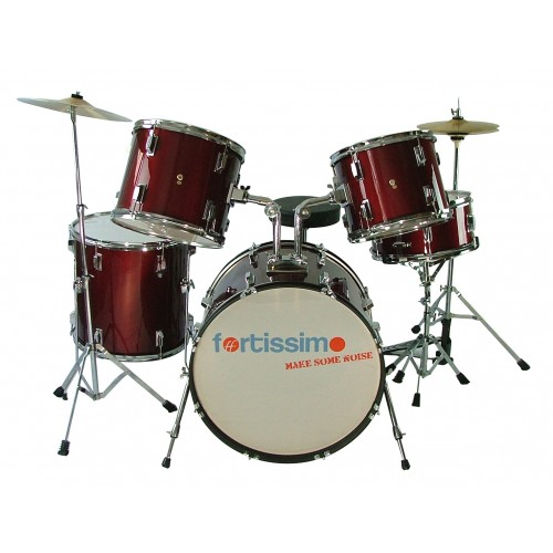 Cherry Red Fortissimo Complete Drum Kit