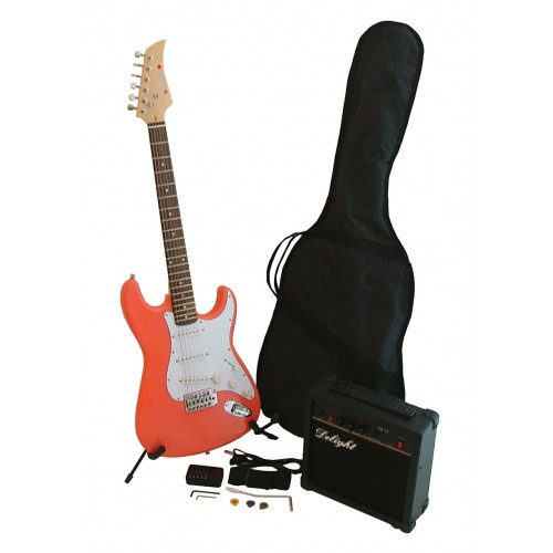 Complete Electric Guitar Music Starter Set in Pink