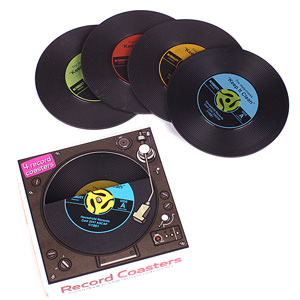Cool Retro Vinyl Style Drinks Coaster Set