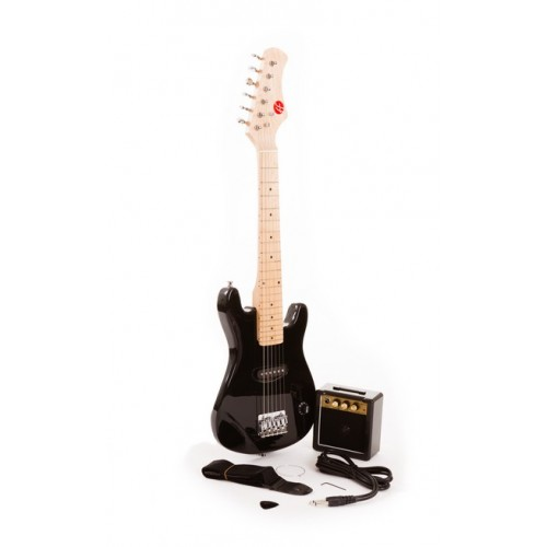 "30"" Fortissimo Junior Black Electric Guitar and Amp Set"