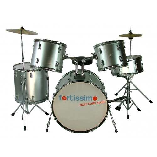 Metallic Silver Fortissimo Complete Drum Kit