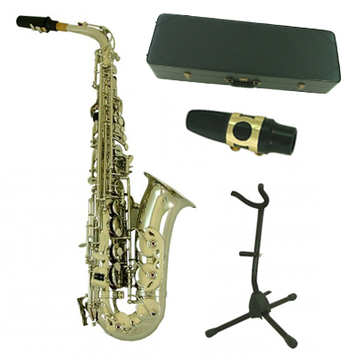 Nickel Alto Saxophone & Complete Accessory Pack