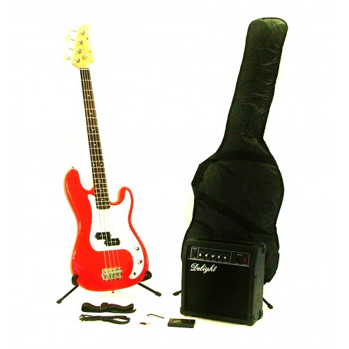 Red Bass Guitar Ultimate Starter Pack by Fortissimo
